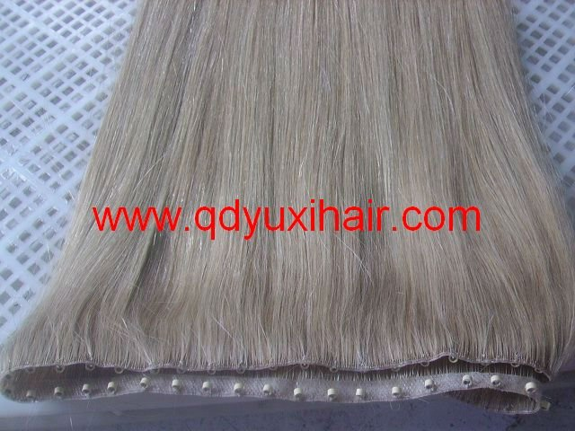 Factory Wholesale 100% Human Hair Hand tied PU Weft with Micro rings