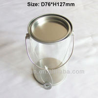 clear plastic cookies jar /plastic paint cans with handle