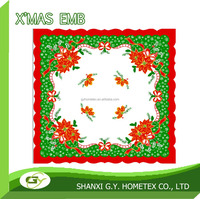 christmas printed printing polyester table topper, table linen, cheap table cloth 36x36
