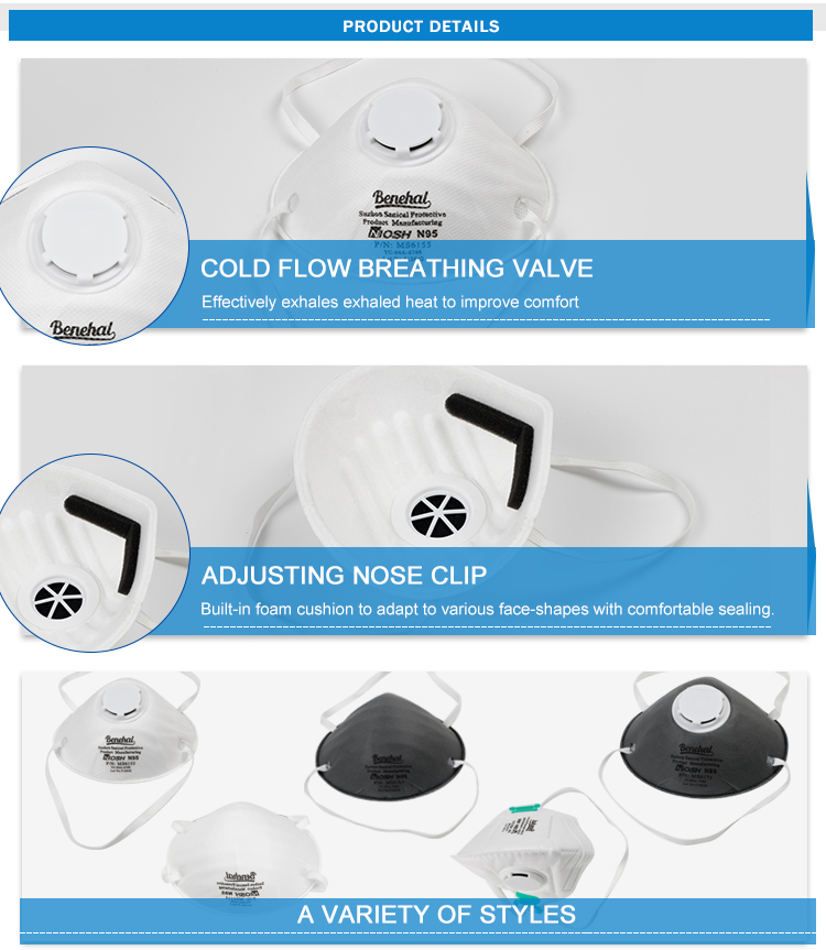 China Manufacturer OEM Disposable Earloop Nonwoven N95 Carbon Filter Respirator Dust Mask