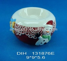 Ceramic snowman candle holder