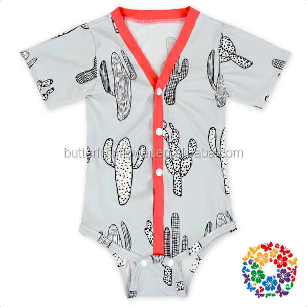 Spring Short Sleeves Cactus polyester baby Romper