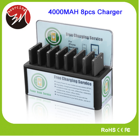 Public 8pcs 4000mAh Power Bank Charging Dock 5V 2A Universal Mobile Phone Advertising Charging Station for Restaurants