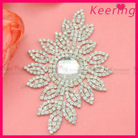 fancy decorative big crystal rhinestone bridal applique for sash belt wholesale WRP-078
