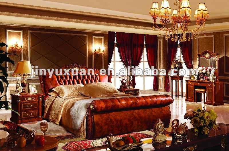 Factory Offer Home Furniture Brown Colour Classical Leather Bed CDB-512#