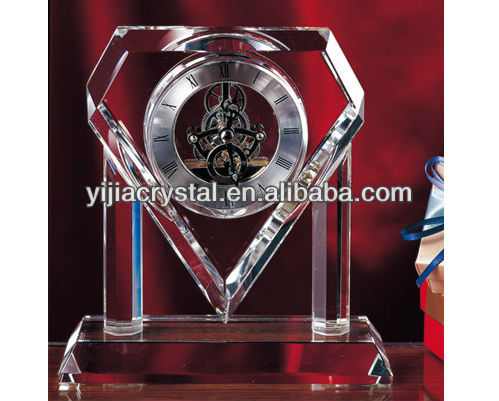 3D laser Crystal clock,crystal wedding gift clock