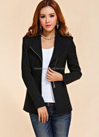 Women Slim Small Suit Large Size Zipper Coat Jacket for Work Office Wear 2015 Autumn Freeshipping PW-FZ-SV006833