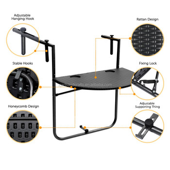 HDPE Plastic Rattan Adjustable Folding Deck Table for Balcony