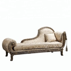 HY-02C luxury elegant antique solid wooden outer frame hotel lobby leather fabric chaise lounge