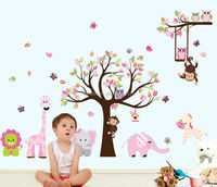 Large Size Kids Room Decorative Forest Animal PVC Wall Sticker