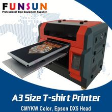 Funsunjet A3 size DX5 head multi use digital color print all in one flatbed tshirt printer tshirt printer