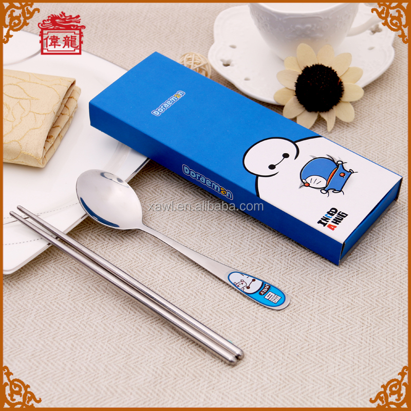 Wholesale Lovely Cheap Stainless Steel Childrens Spoon and Chopsticks Cutlery Gift Set KTCJ005-2
