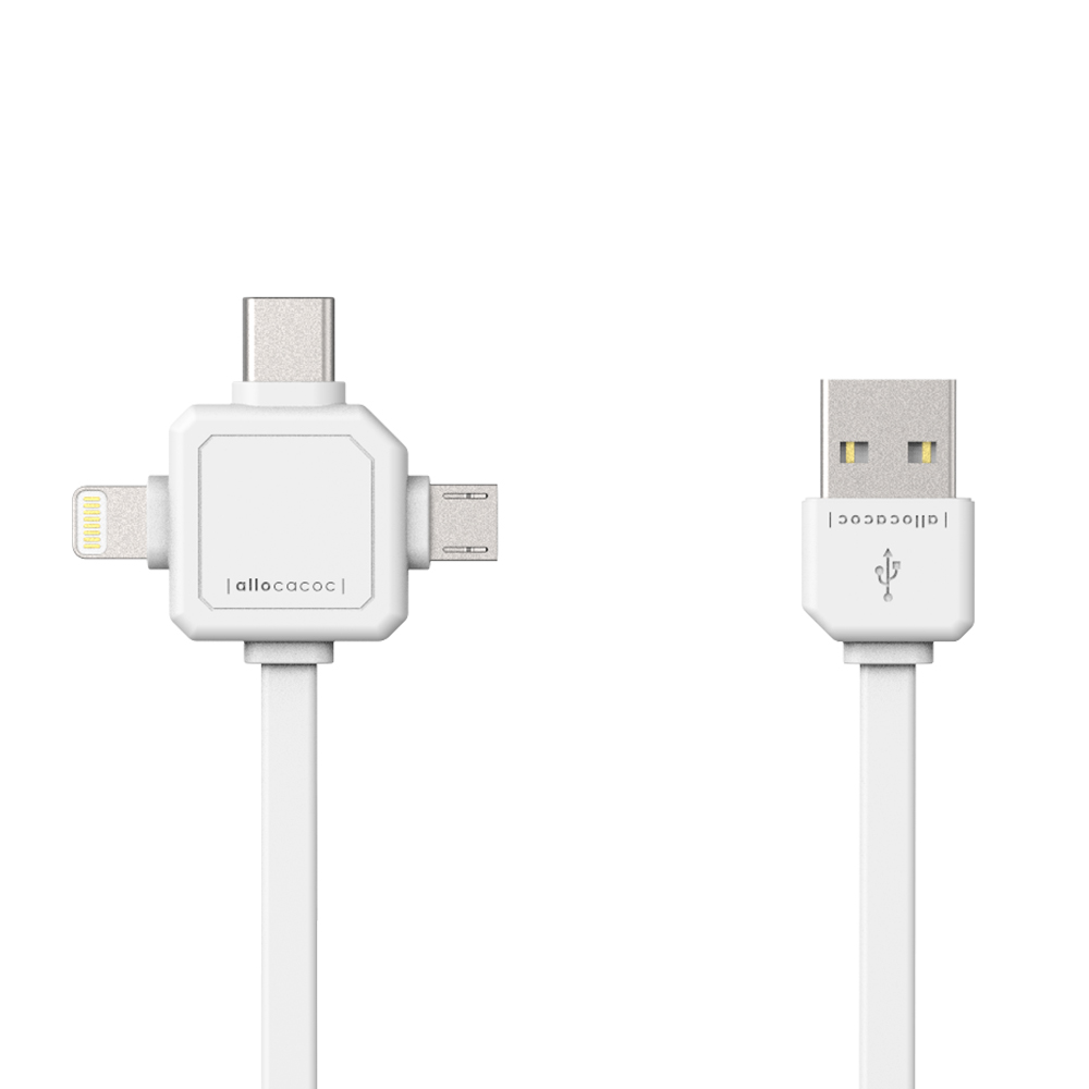 Power USB-C Cable 3 connectors Micro USB/ USB type-C Data transfer 1.5m charging