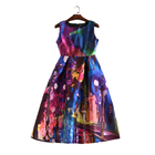 New Women Casual Fancy Oil Painting Print Dresses Sleeveless O Neck Ball Gown A-line Swing Vintage Party Dress vestido de renda