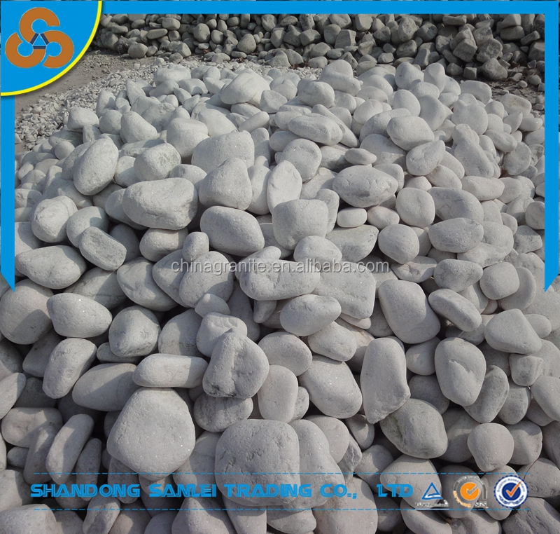 garden landscaping stone pavers tumbled white marble pebbles