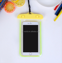 Universal Portable PVC Waterproof mobile phone case, LED Night Light Waterproof Bag Case for 6'' Cell Phones