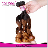 Factory price three tone ombre color human hair weft