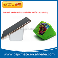 Phone holder Handfree Full Color Printing Bluetooth Stereo Speaker with Silicon Sucker