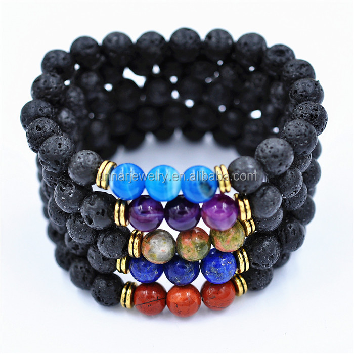 8mm Black Lava Rock Stone Bracelet Elastic With Agate Nature Stone Bead For Women
