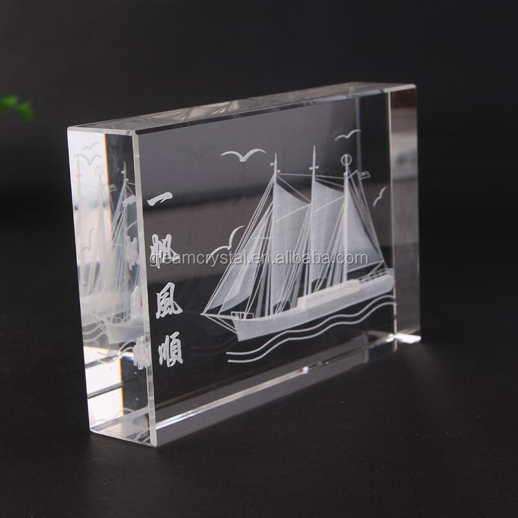 Pujiang Factory Handmade K9 Solid 3d laser engraved Blank Crystal Glass Cube