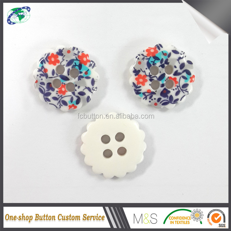China Direct Factory Custom New Arrival Special Shape Printed 4 Holes Vintage Resin Button For Garments