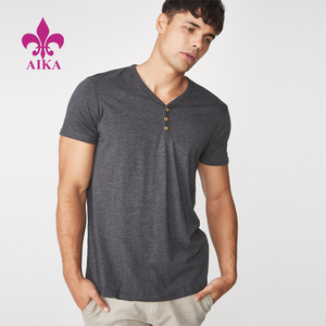 Wholesale customized 100%cotton v-neck half-open with button plain t-shirt with short sleeves