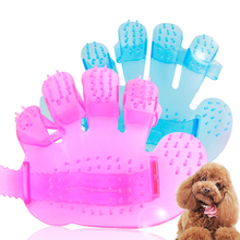Pet Dog Cat Grooming Shower Bath Gentle Massage Brush Comb, Hand Shaped Soft Comfortable Glove Blue Pink