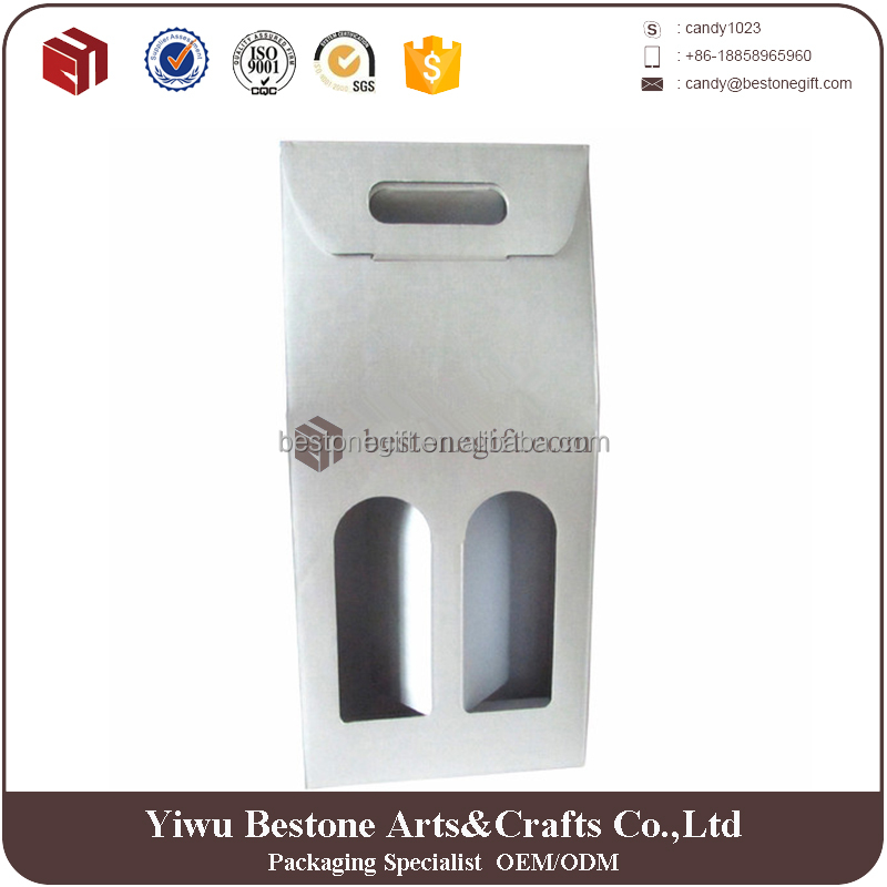 Cheap Customized Corrugated Two Bottles Cardboard Wine Carrier