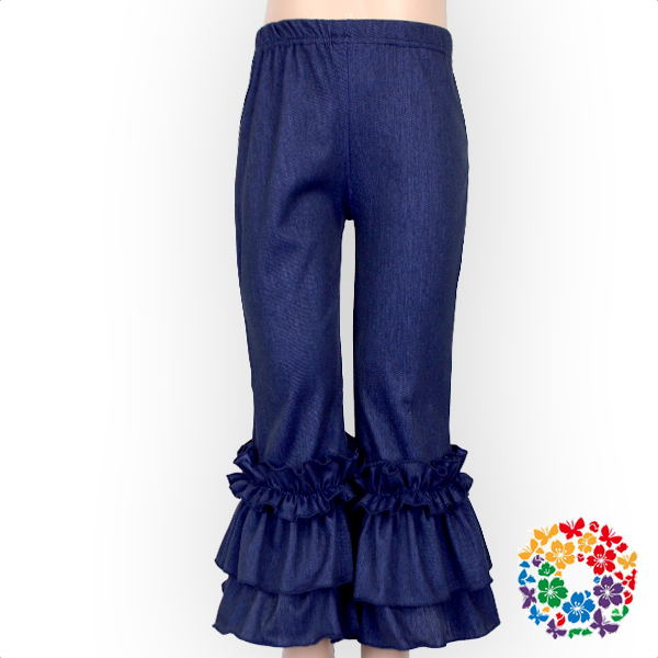 Latest Design Girls Cotton Denim Jeans Pants New Fashion Ruffle Elastic Pant Wholesale Baby Icing Ruffled Pants
