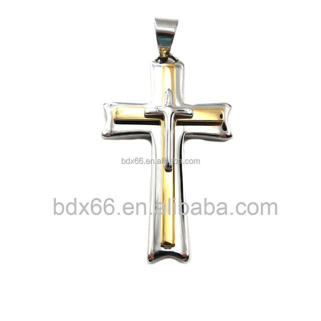 High Quality Stainless Steel Gold And Silver Tone Religious Catholic INRI Crucifix Jesus Cross Three Layers Pendant For Rosary