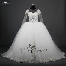 RSW714 Long Sleeve See Through Corset Puffy Princess Ball Gown Wedding Dresses Bridal Gown 2015