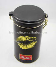 high quality beautiful round tin can wih plastic lid for coffee