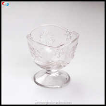 Engraved Eleglant Fruit glass bowl, Clear Glass Bowl With Stem Glass Ice Cream Bowl