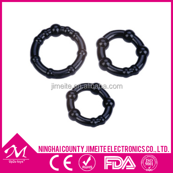 Soft Sex ring for man, erotic products china, basic TPR cockring 3er set