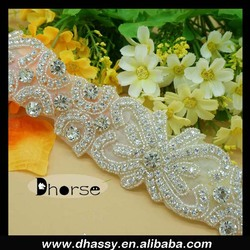 2016 Clear crystal bow bridal sash trims/ bridal decorative rhinestone beads trim /diamante rhinestone belt trimming DH-1362