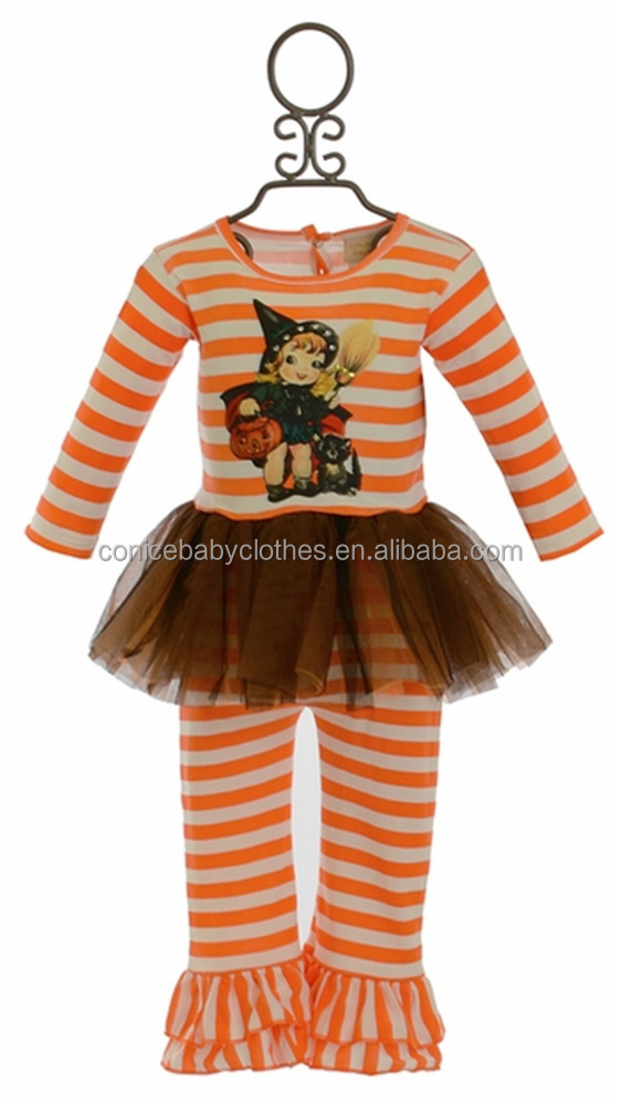 Wholesale high quality teen girls ruffle witch halloween clothing
