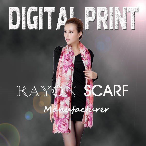 lady's digital print rayon scarf shawl -J
