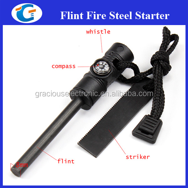 3 in1 Flint Stone Survival Magnesium Fire Starter Lighter+Whistle+Compass