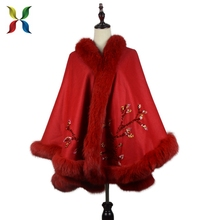 newest Women Sexy cape coat / Winter Luxury Fox Fur Coat Capes And Ponchos Women's winter Warm shawl
