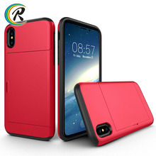 Phone accesories case Phone cover TPU PC Hybrid Armor Case for iPhone 10 case with credit cards slot