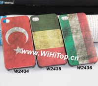 Turkey/Hangary National Flag Old Fashion Design Somky Matte Print Case for iPhone 4S Factory Direct Sale