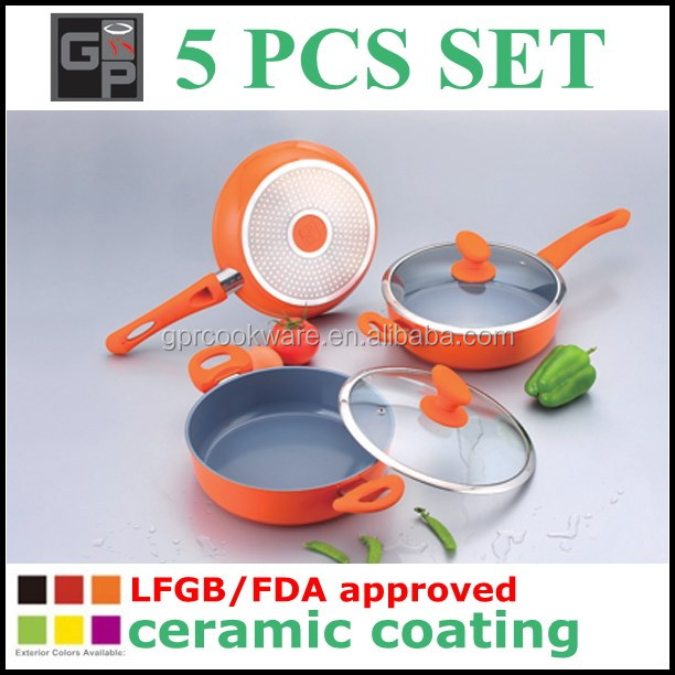 2015 hot sale ceramic coating 5 pcs electric pressure cooker set
