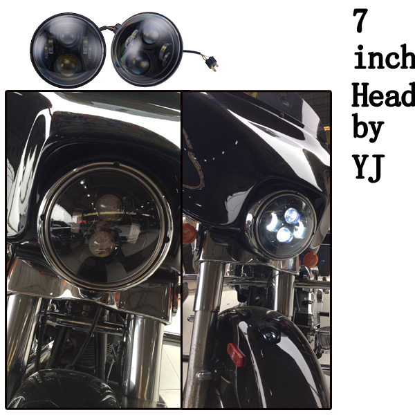 Lifetime 7inch high/low beam wireless remote control kits led headlights for harley/jeep