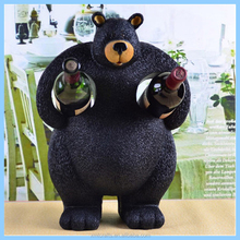 resin animal creative wine bottle holder cute black bear shaped two bottle holder homes decor