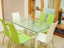 fashionable transparent smooth rectangular glass dining table top