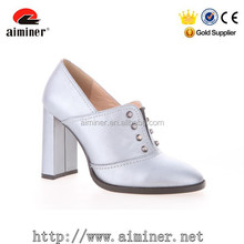 2015 latest silver shoe ladies leather shoe with studs