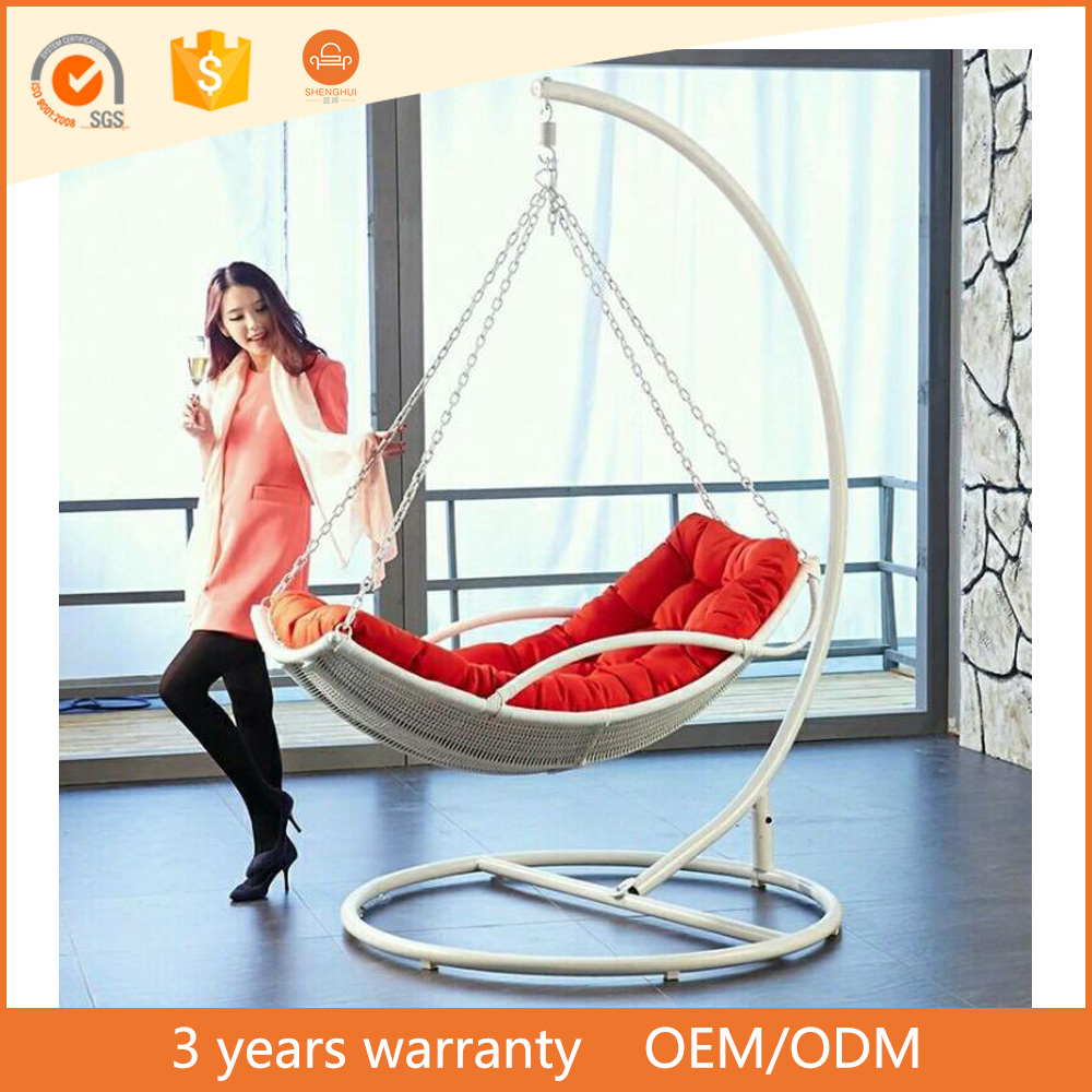 European style lazy hammock leisure hanging basket handmade PE rattan patio furniture outdoor swing egg chair