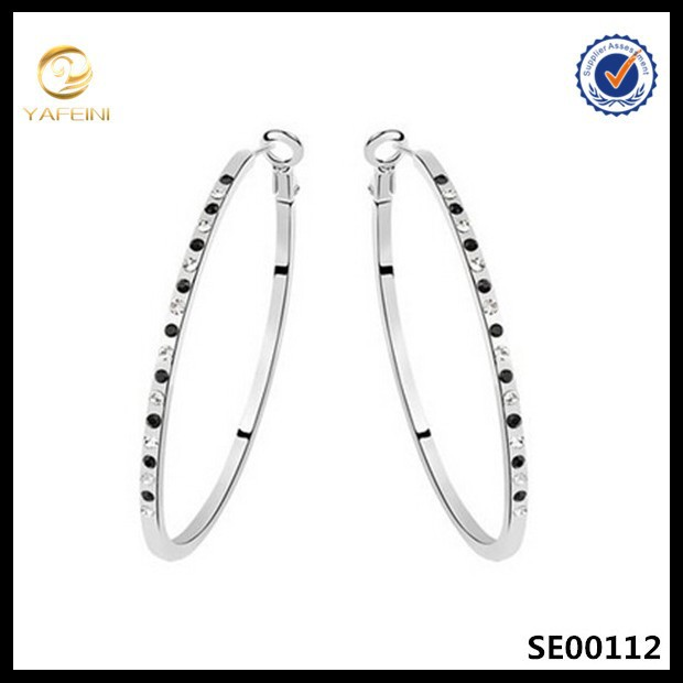 Hot sale Pave Crystal and Black zirconia diamond earring,New design Pure 925 silver earring women hoop earring