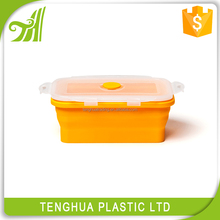 Popular items foldable kids collapsible silicone lunch food box plastic food storage box