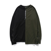Hot Street Clothing Mens High Quality Fleece Two Tone Sweatshirt Custom Blank Oversized Sweatshirt With Twill Tape